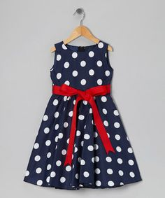 Another great find on #zulily! Blue Polka Dot Bow Dress - Infant, Toddler & Girls by Kid Fashion #zulilyfinds