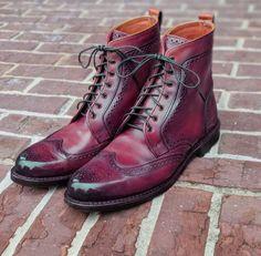 Mens Formal Wear Oxford Ankle High Burgundy Leather Leather Thread, Leather And Lace, Leather Men, Brown Leather, High Ankle Boots, Ankle Highs, Combat Boots, Mens Boots Fashion, Leather Fashion