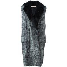 Marni fur sleeveless coat ($8,320) ❤ liked on Polyvore featuring outerwear, coats, grey, grey coat, gray coat, grey double breasted coat, fur coat and mid length coat