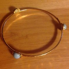 Gold Bangle w/ Mint-green Accents Used like new, never worn ....(The more you buy, the more I lower my prices so bundle & save!!) Jewelry