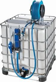 An IBC tote with a pump on it. This can be used in a vehicle or in a fixed location http://preparednessadvice.com/fire-prevention-2/fire-protection-homestead/#.VT-7SiFVhBc