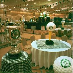 The whole room is decked out in a golf theme! menu at the bar with golf-themed beverages Golf Centerpieces, Golf Party Decorations, Table Decorations, Event Themes, Party Themes, Party Ideas, Theme Ideas, Golf Carros, Volkswagen Golf