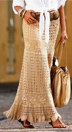 Длинная юбка крючком 5