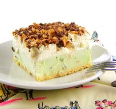 One Perfect Bite: Frozen Pudding Cream Cake with Candy Bar Crunch Topping