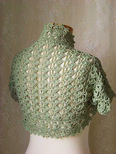 Short sleeved crochet shrug