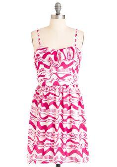 As You Wave Hello Dress - Mid-length, Pink, White, Print, Ruffles, Sheath / Shift, Spaghetti Straps, Casual, Summer
