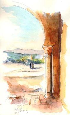Tlemcen - Mansourah en sortant - Peinture, 30x40 cm ©2008 par Catherine Rossi -
