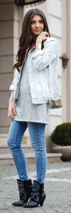 Denim And Sequin Outfit Idea #Fashionistas