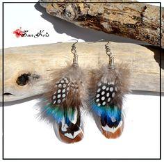 Boucles d'oreilles plumes de paon et faisan, Vert, Marron, Blanc, bijoux plumes, bijoux ethniques : Boucles d'oreille par sunkris