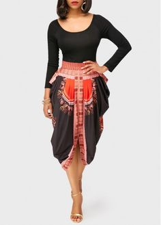 High Waist Round Neck Long Sleeve Dashiki Asymmetric African Fashion Midi Dress, dressy, modest, cute, summer fashion, womens fashion, more info at rosewe.com, new sign up 15% off, don't wait.