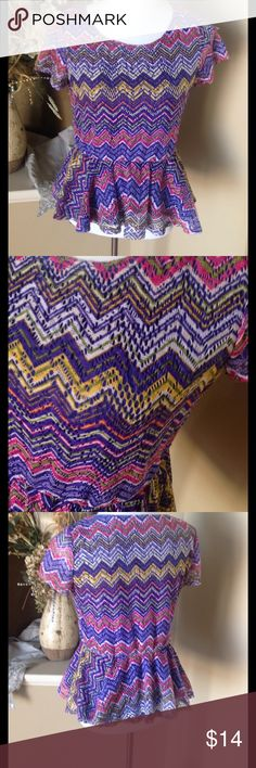 Purple/Multi Chevron Top Elastic waistband. Fully lined. 100% polyester. KM Annalee + Hope Tops