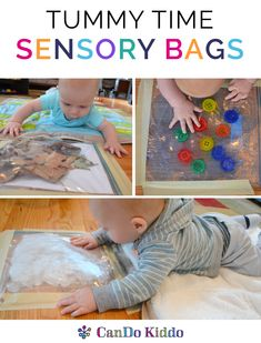 Baby sensory play and baby learning play to make Tummy Time fun! Learn to make simple sensory bags for babies to do more Tummy Time. #parentingtoddlerssimple