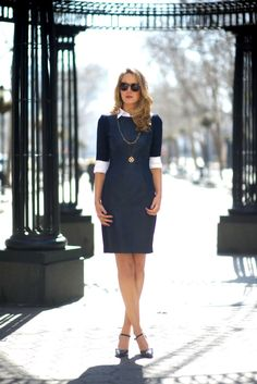 corporate dress with mary jane shoes