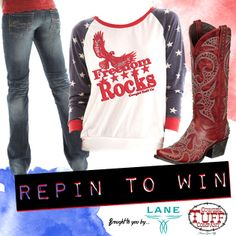 WIN THIS ENTIRE OUTFIT from Cowgirl Tuff Company and @Lane Hartwell Hartwell Hartwell Boots  ...  All you have to do is re-pin it to win it. To be eligible you must include #cowgirltuff and #LaneBoots in the description to be considered. Deadline: Thursday May 8th at 11:59 PM CST. Winner will be contacted on Friday!  #RePinToWin
