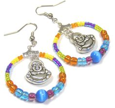 Buddha charm earring colorful vibrant color hoop ring