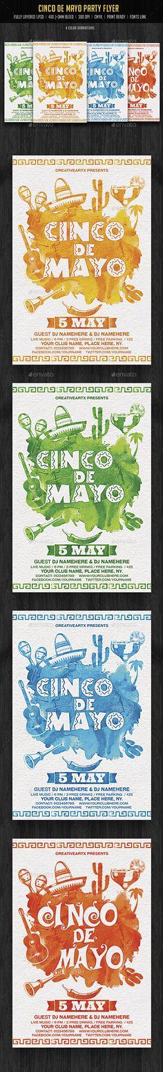 Cinco De Mayo #Party #Flyer - Events Flyers Download here:  https://graphicriver.net/item/cinco-de-mayo-party-flyer/19622456?ref=alena994