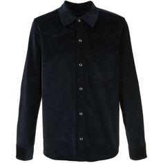 A.P.C. plain shirt (2,940 MXN) ❤ liked on Polyvore featuring men's fashion, men's clothing, men's shirts, men's casual shirts, tops, blue, mens shirts and mens blue shirt