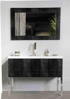 Luxury bath vanity with crocodile.