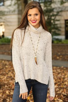 LUSH: Just Enough Speckle Sweater-Ivory | The Red Dress Boutique
