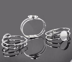 20Pcs Silver Plated Round Cabochon Setting Bangles 6.6X5.6Cm(Fit 25Mm Dia)