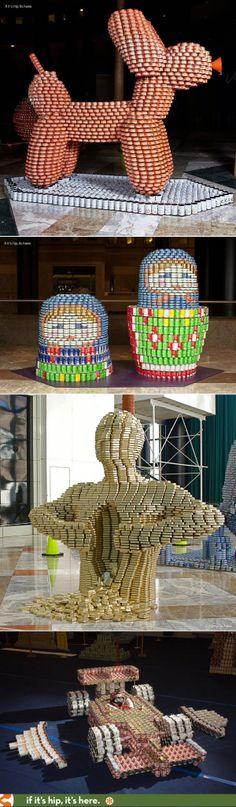 Sculptures made of food cans for Hunger Awareness. More at the link. #Canstruction