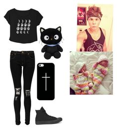 """You and your twins backstage waiting for Ashton"" by xxmia-hood-xx ❤ liked on Polyvore featuring Boohoo, Converse and Casetify"