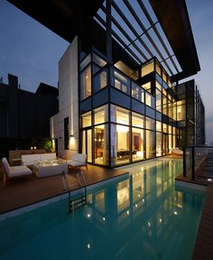 ☮ Modern Architecture Luxury living House of the Tree. Sophisticated and luxurious architecture design by Kokaistudios for a penthouse on the and floor of a residential tower in Shenzhen, China. Architecture Design, Amazing Architecture, China Architecture, Residential Architecture, Building Architecture, Installation Architecture, Minimal Architecture, Creative Architecture, Architecture Interiors