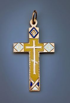 Antique Gold Crosses   Enameled Gold Russian CrossThis cross was made in the 1880s – early 1890s by a prominent St. Petersburg jeweler Rudolf Weide who specialized in enameled gold crosses