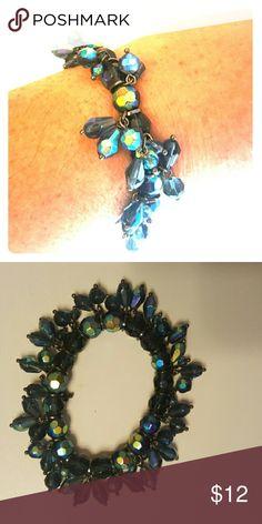 Lia Sophia Turquoise Bracelet Lia Sophia turquoise bling, elastic banded Lia Sophia Jewelry Bracelets