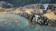 ark survival pictures of house on waterfall Jurassic World, Jurassic Park, Game Ark Survival Evolved, Ark Ps4, Conan Exiles, Base Building, Freaks And Geeks, Animal Crossing, Video Games