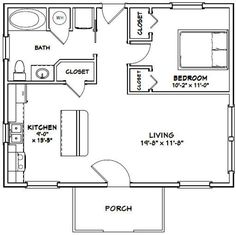 1 Bedroom House Plans, Guest House Plans, Small House Floor Plans, Cabin Floor Plans, Two Bedroom Tiny House, The Plan, How To Plan, Cottage Plan, Shed Homes