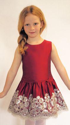 Dropwaist Taffeta Girls Dress with Floral Sequins Hem