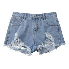 Denim Distressed Cutoffs Shorts Denim Blue S (24 CAD) ❤ liked on Polyvore featuring shorts, bottoms, cut-off shorts, destroyed denim shorts, denim cut offs, denim cut-off shorts and denim shorts