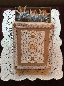 Vintage-Box-Tinselstars-Angel-Scrap-Oblaten-Alte-Weihnachtschmuck-Feather-Tree made by myself