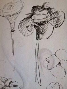 #skiss #blyerts #blommor