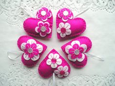 Purple Felt Ornament hearts flowers easter spring decoration fuchsia pink white hanging handmade embroidery, party favors decor, set of 5 Felt hanging heart with embroidery. Felt is a very soft, pleasing and environmentally friendly material. Felt ornament look great in any room. This ornament will serve you for a long time, you can take it away and hang again! It will be a perfect gift or decoration:) 8cm x 8cm approx, with a ribbon loop for hanging. *********************************...
