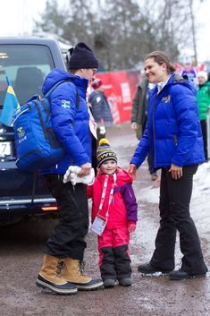 Prince Daniel, Princess Estelle and Crown Princess Victoria of Sweden attended the FIS Nordic World Ski Championships on February 27, 2015 in Falun, Sweden.