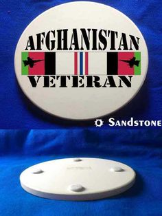 This beautiful Afghanistan Veteran+Jets Sandstone Coaster is a must-have. Full color design custom baked into the stone for long lasting color; felt pads to prevent table scratching; strong, durable & absorbent for all types of drink ware.
