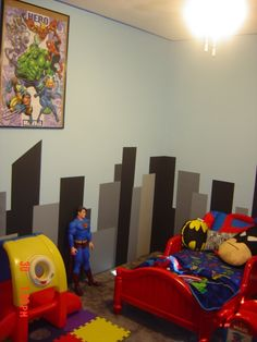 ethan's color scheme for his vintage superhero bedroom, using