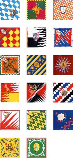 Flags of the 17 'contradas'