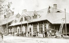 Building the Framingham Train Station.  South Framingham, MA.   I descend from one of these builders.