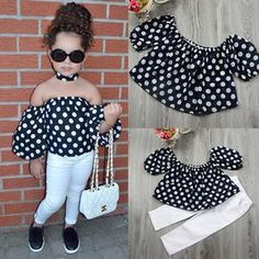 Fashion Kids Baby Girls Clothes Outfits T-shirt Tops +Denim Jeans Pants Set Cute Little Girls Outfits, Dresses Kids Girl, Kids Outfits Girls, Toddler Girl Outfits, Baby Girl Fashion, Kids Fashion, Baby Girl Pants, Baby Girls, Kids Frocks Design