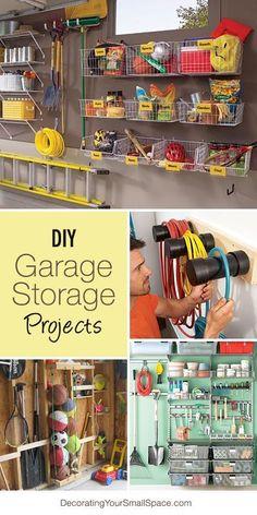 DIY Garage Storage Projects Ideas Diy Garage Storage, Shed Storage, Storage Hacks, Storage Solutions, Storage Ideas, Kitchen Storage, Bedroom Storage, Hidden Storage, Loft Storage