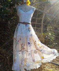flower garden long skirt, vintage embroideries, lace & crochet, hippy, boho…