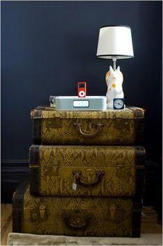 vintage suitcase as nightstand