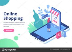 Woman making online shopping by phone. Isometric Flat vector design isolated on white background. Free Vector Illustration, Photo Illustration, Graphic Illustration, Illustrations, Layout Design, Design Art, Isometric Design, Web Design Trends, Flat Design