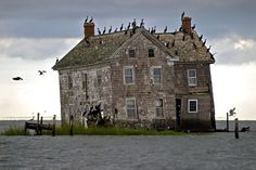 Once entertaining 360 inhabitants, the tides turned on this massive island in Chesapeake Bay in 1914, and it began to erode aggressively back into the sea. Shortly thereafter, the island was abandoned, whittled down to this last house which collapsed in October, 2010. Photo: m.cdn.blog.hu via http://news.distractify.com/dark/science/abandoned-places-reclaimed-by-nature/?v=1