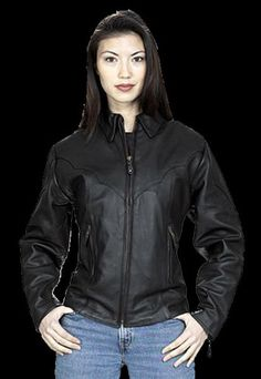 Womens Quality Cowhide Leather Riding Jacket LJ248 Black XS Zippered Cuffs NEW