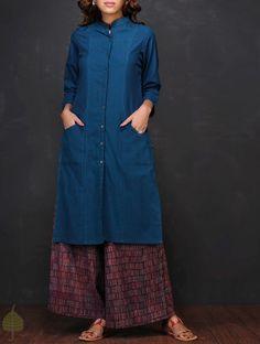 Buy Blue Button down Handloom Cotton Kurta by Jaypore Women Kurtas The…