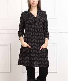 Look at this Black & Charcoal Leaf Pocket Shift Dress on #zulily today!